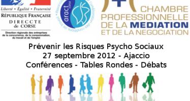 Conférence en Corse, RPS et médiation professionnelle