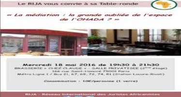 Table-ronde du RIJA sur la médiation dans l'espace OHADA, le 18 mai 2016 à Paris