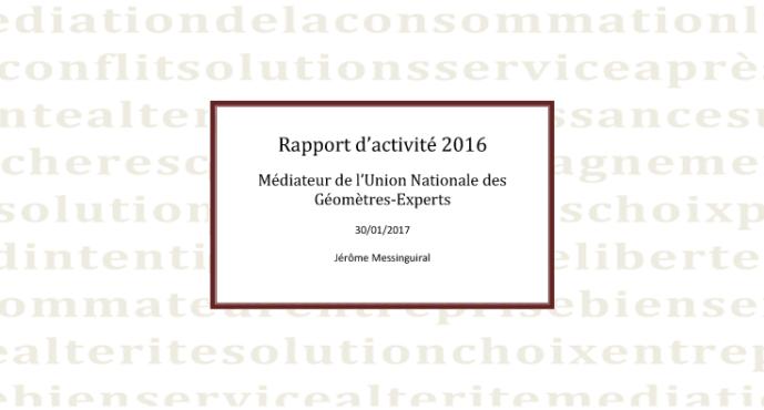 Rapport 2016 du médiateur de la consommation des géomètres-experts